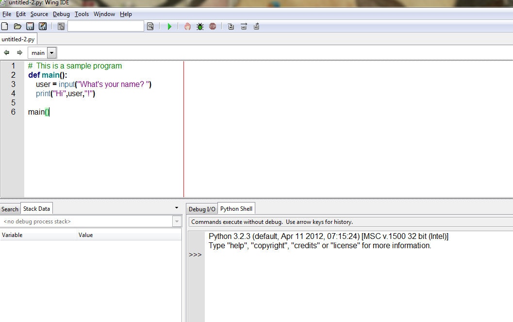 Here Is The New Program Window With Some Code Typed In It WingIDE Does Do Syntax Coloring Also Indents For You